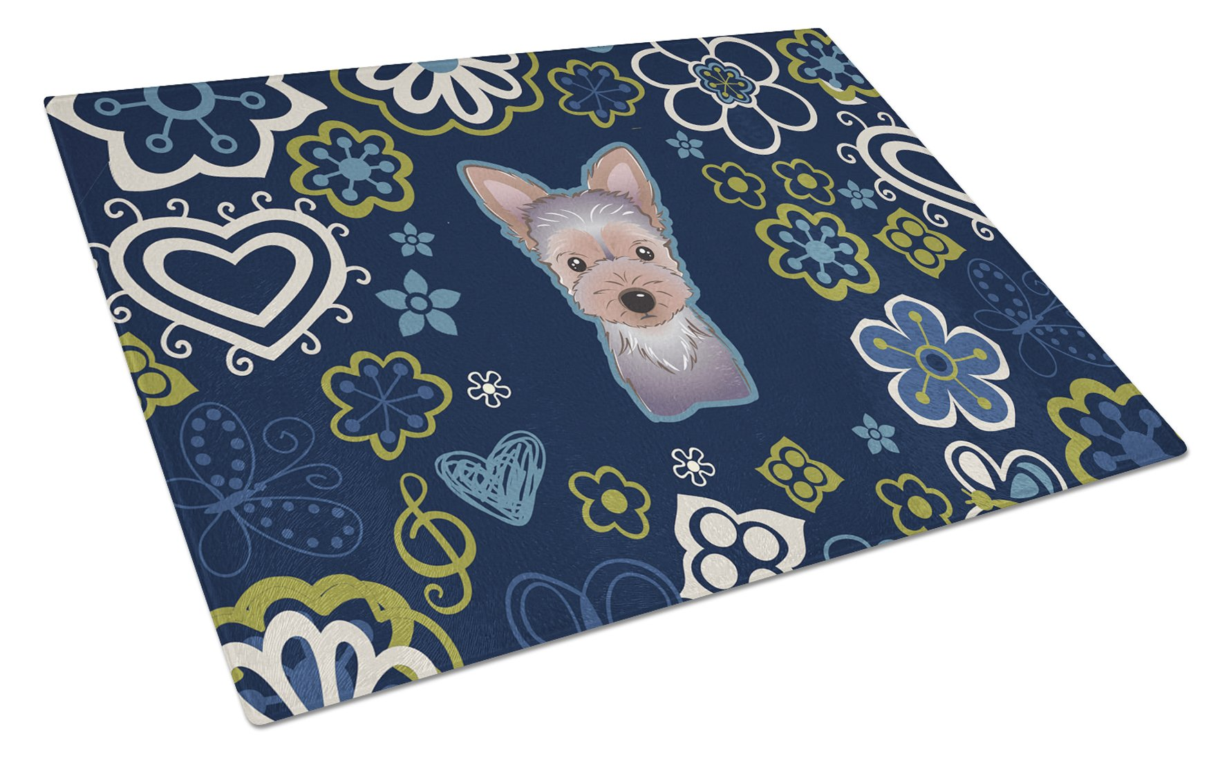 Blue Flowers Yorkie Puppy Glass Cutting Board Large BB5083LCB by Caroline's Treasures