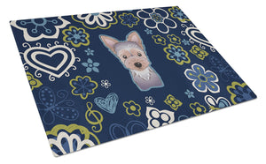 Buy this Blue Flowers Yorkie Puppy Glass Cutting Board Large BB5083LCB