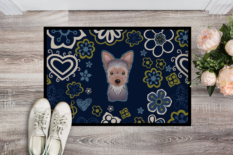 Blue Flowers Yorkie Puppy Indoor or Outdoor Mat 18x27 BB5083MAT by Caroline's Treasures