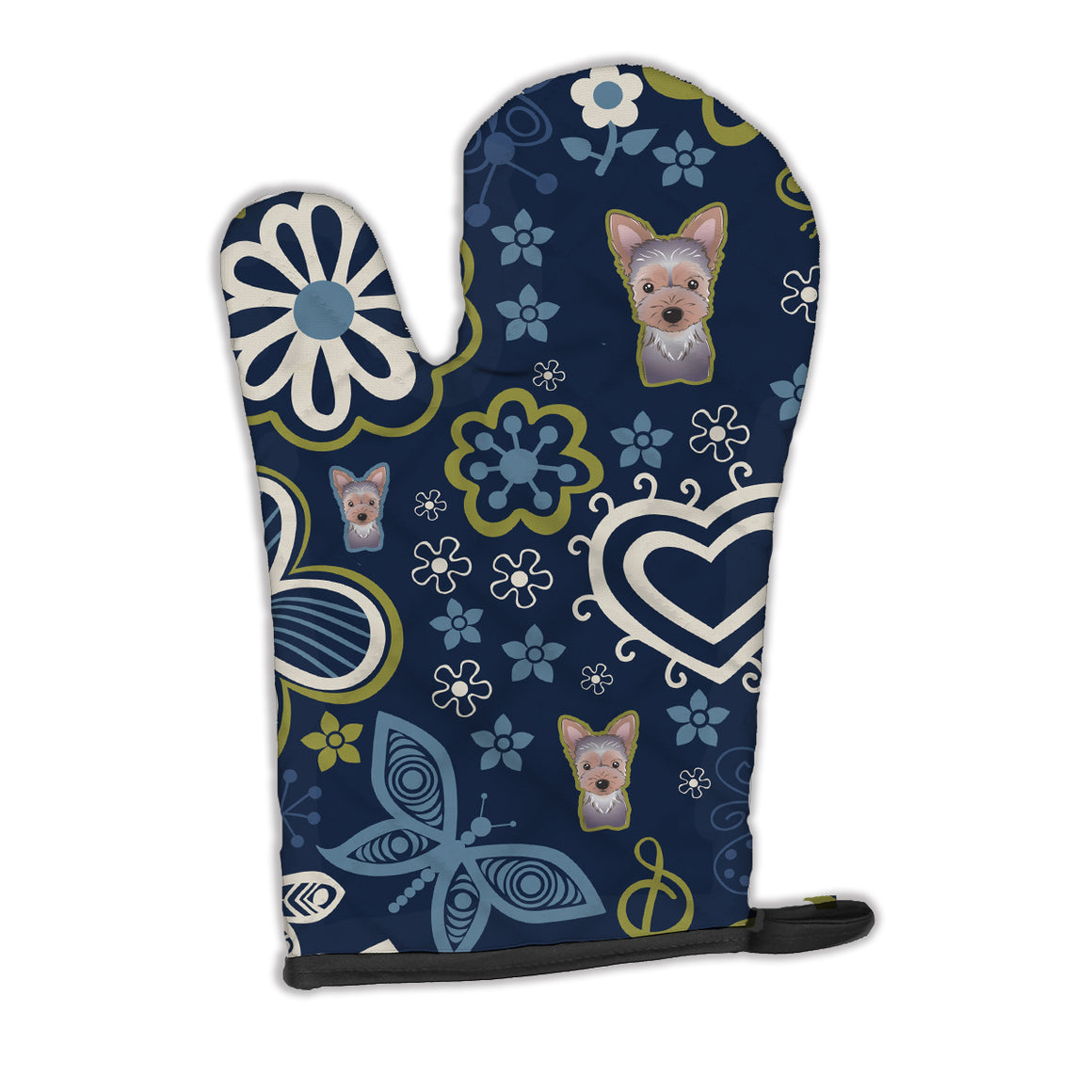 Buy this Blue Flowers Yorkie Puppy Oven Mitt BB5083OVMT