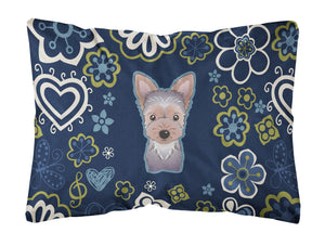 Buy this Blue Flowers Yorkie Puppy Canvas Fabric Decorative Pillow BB5083PW1216