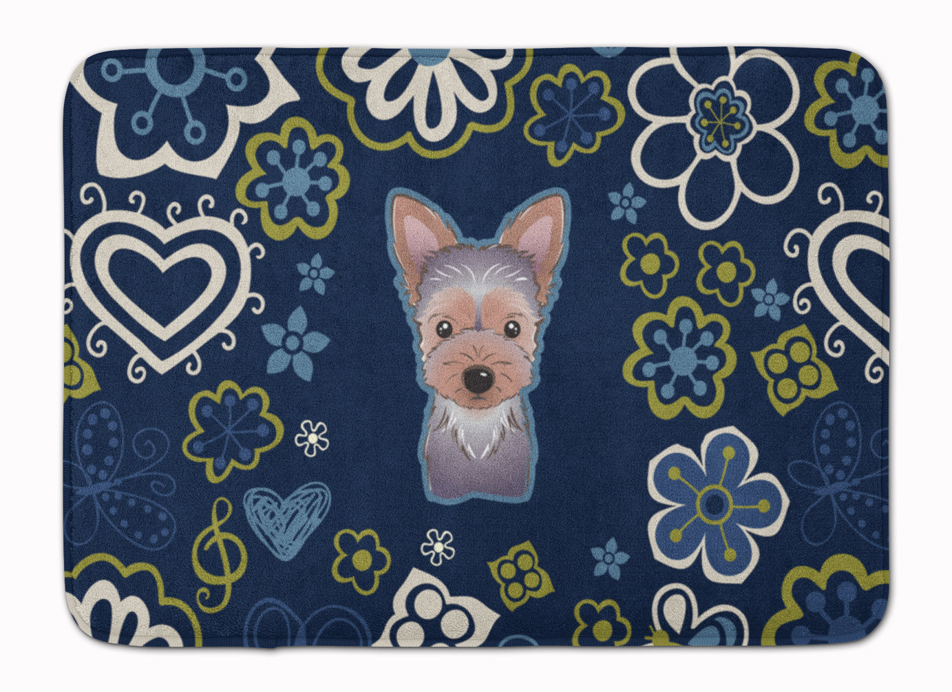Blue Flowers Yorkie Puppy Machine Washable Memory Foam Mat BB5083RUG by Caroline's Treasures