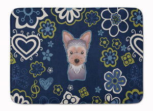 Buy this Blue Flowers Yorkie Puppy Machine Washable Memory Foam Mat BB5083RUG