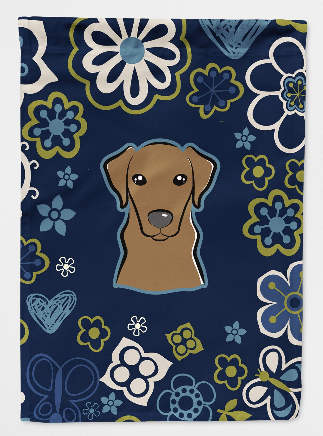 Buy this Blue Flowers Chocolate Labrador Flag Garden Size BB5085GF