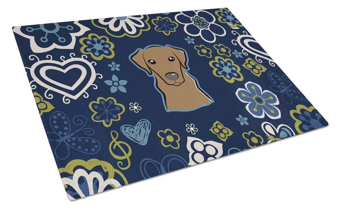 Buy this Blue Flowers Chocolate Labrador Glass Cutting Board Large BB5085LCB