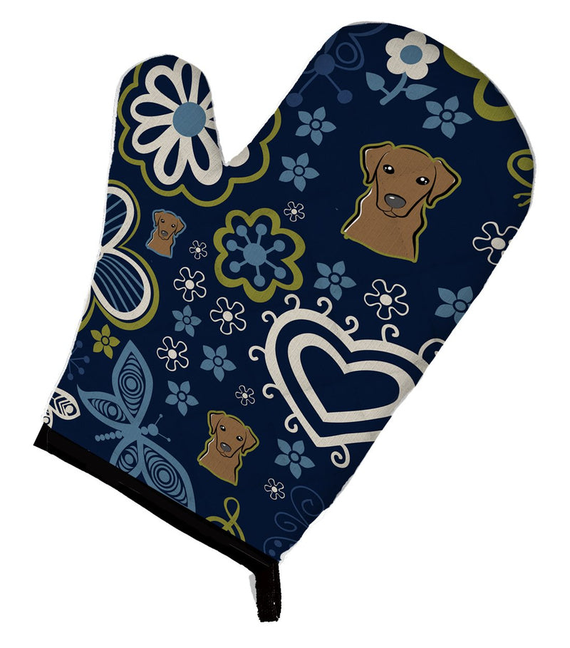 Buy this Blue Flowers Chocolate Labrador Oven Mitt BB5085OVMT