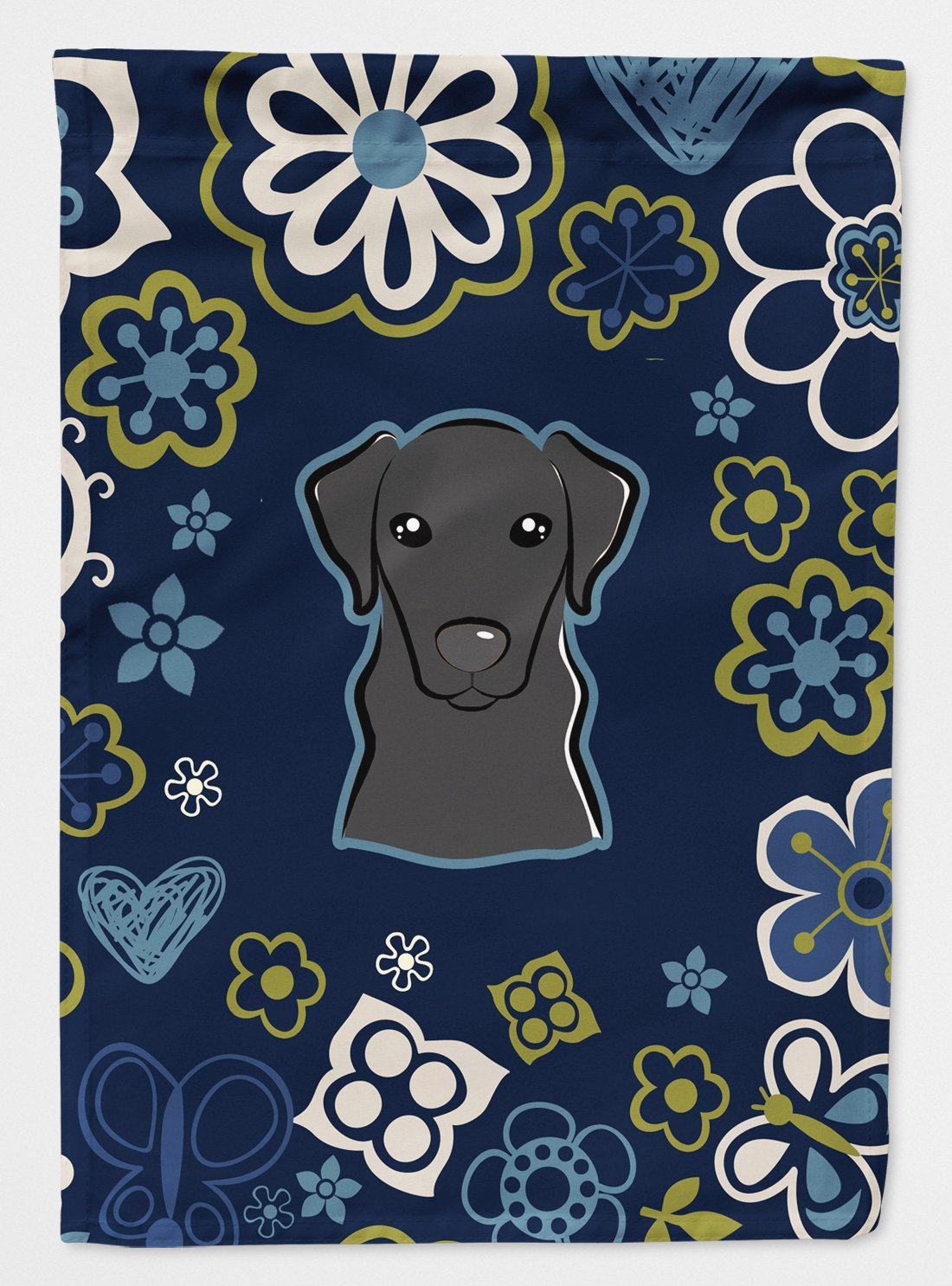 Buy this Blue Flowers Black Labrador Flag Garden Size BB5086GF