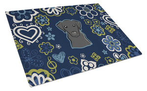 Buy this Blue Flowers Black Labrador Glass Cutting Board Large BB5086LCB