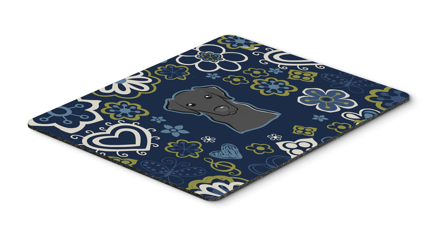 "Buy this ""Blue Flowers Black Labrador Mouse Pad, Hot Pad or Trivet"""