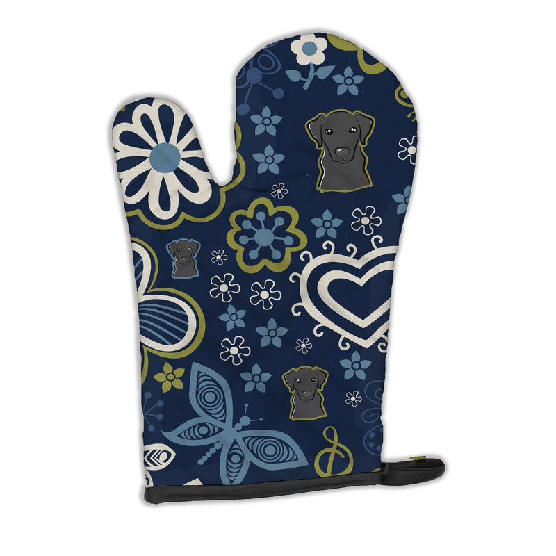 Buy this Blue Flowers Black Labrador Oven Mitt BB5086OVMT