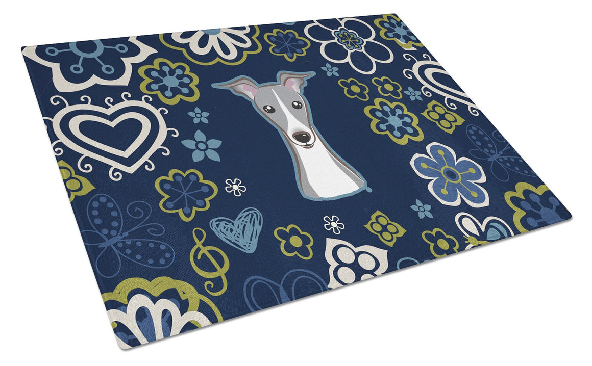 Buy this Blue Flowers Italian Greyhound Glass Cutting Board Large BB5087LCB