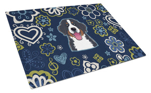 Buy this Blue Flowers Bernese Mountain Dog Glass Cutting Board Large BB5088LCB