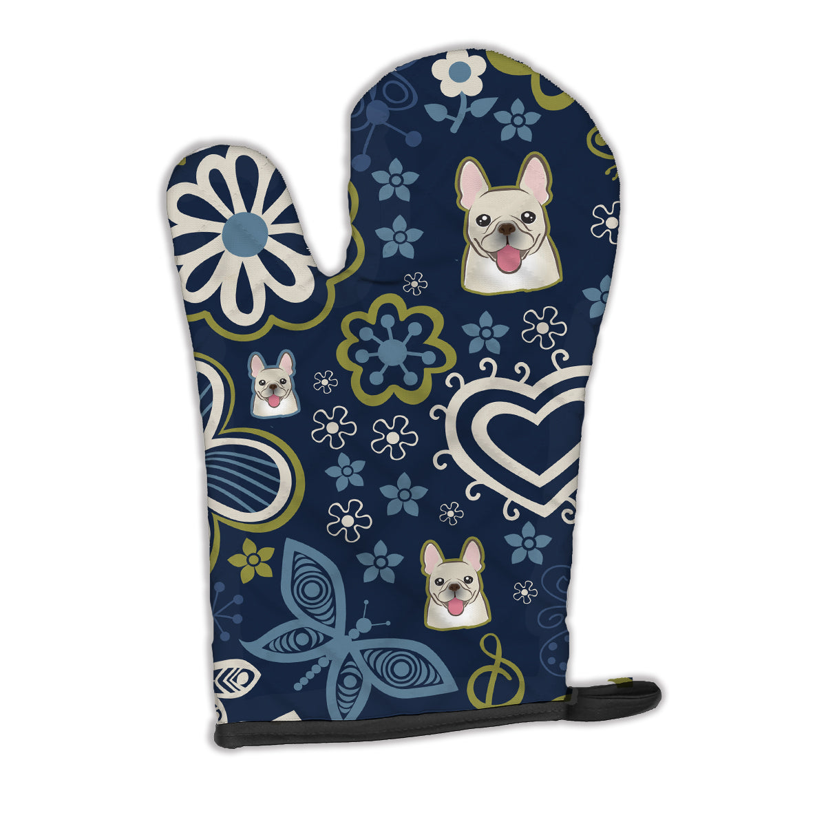 Buy this Blue Flowers French Bulldog Oven Mitt BB5089OVMT