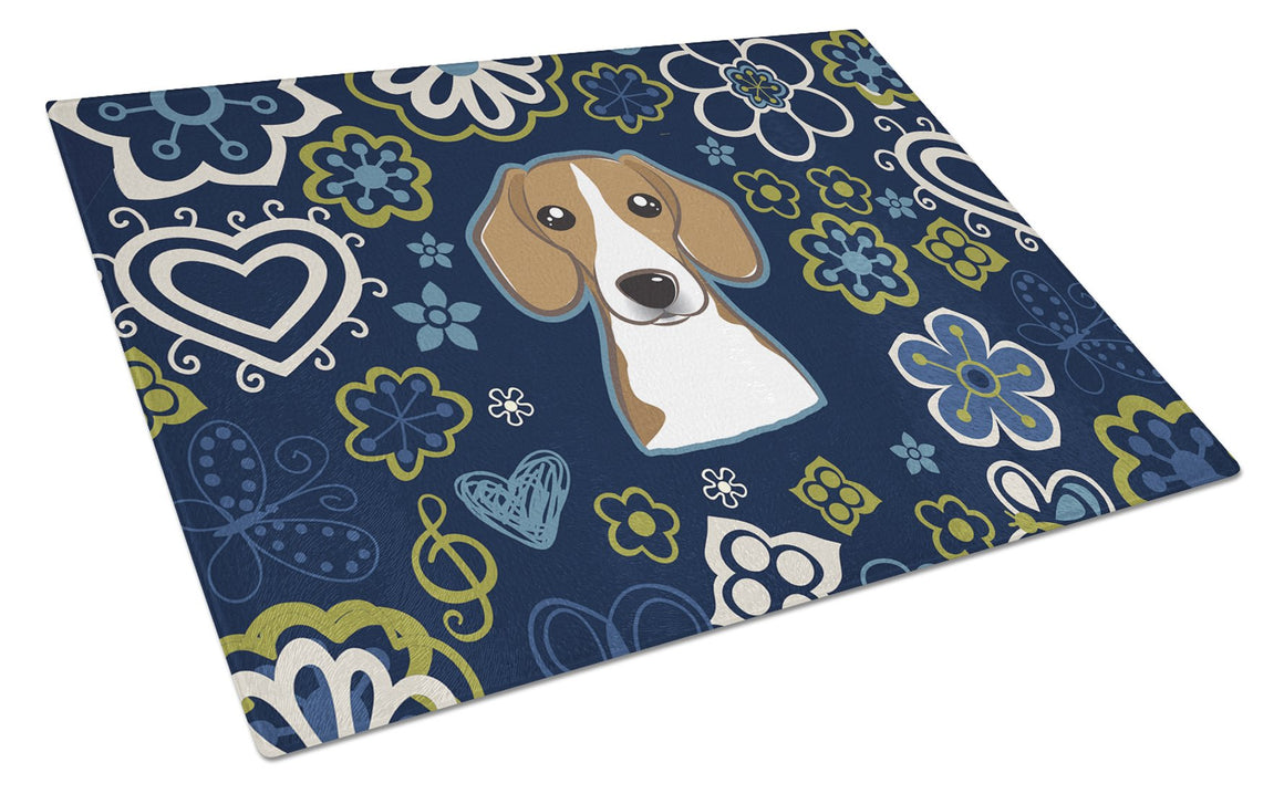 Buy this Blue Flowers Beagle Glass Cutting Board Large BB5090LCB