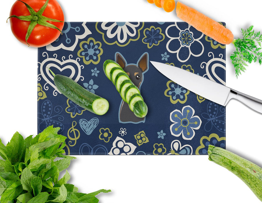 Buy this Blue Flowers Min Pin Glass Cutting Board Large BB5091LCB