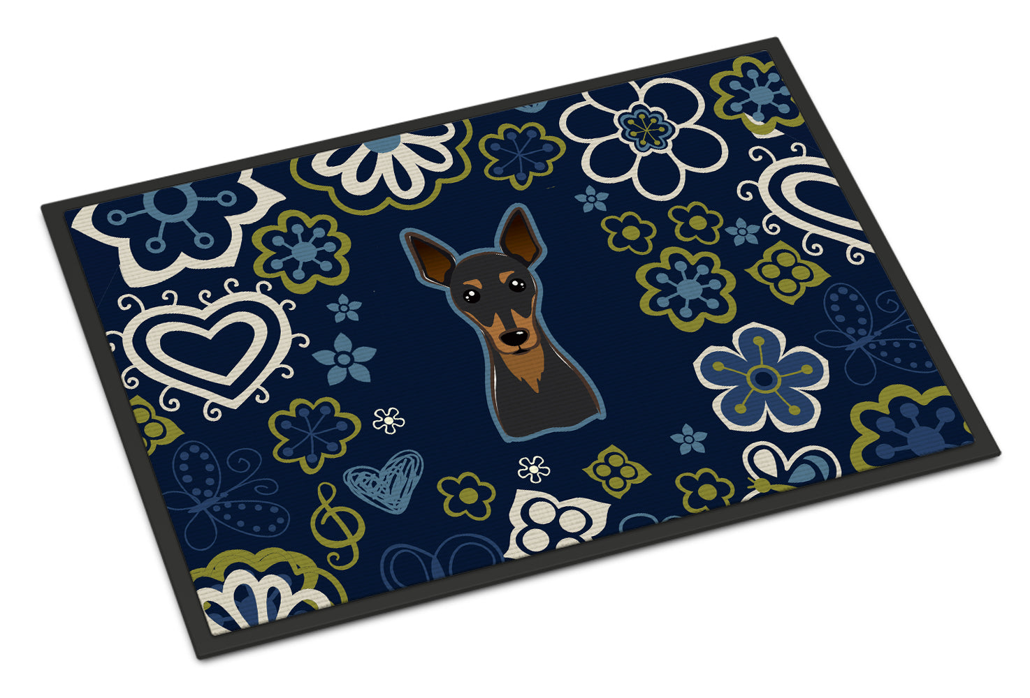 Blue Flowers Min Pin Indoor or Outdoor Mat 18x27 BB5091MAT by Caroline's Treasures