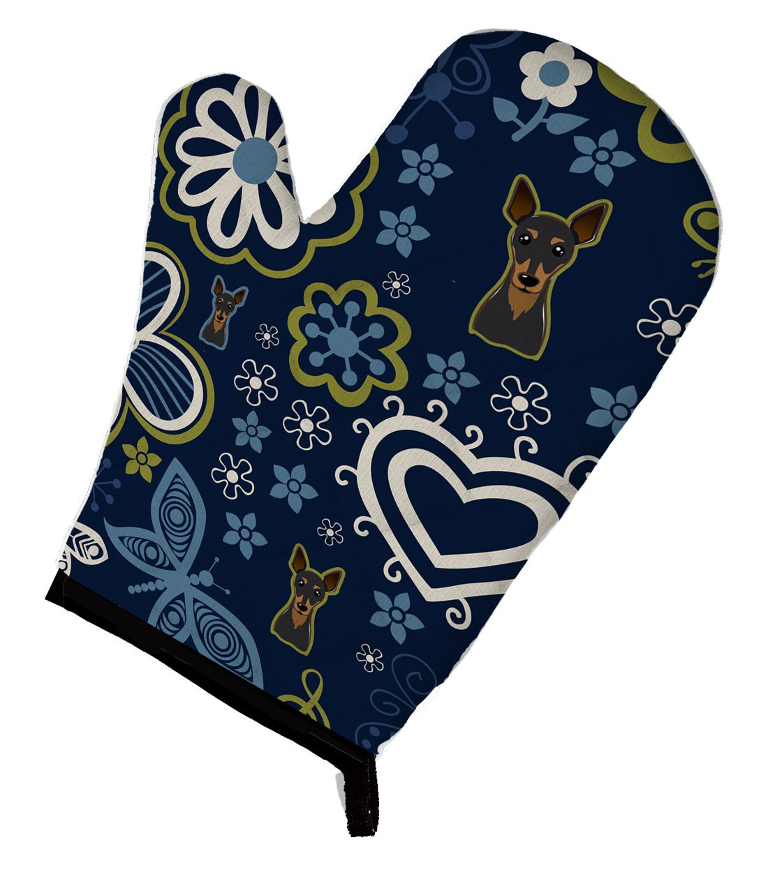 Buy this Blue Flowers Min Pin Oven Mitt BB5091OVMT