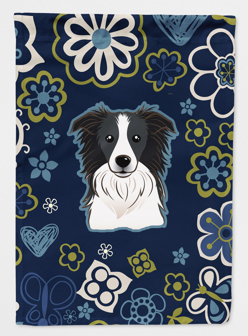 Buy this Blue Flowers Border Collie Flag Garden Size
