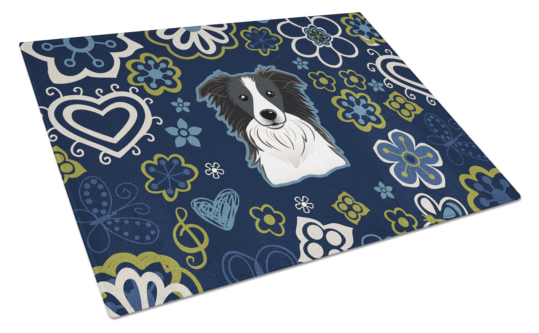 Blue Flowers Border Collie Glass Cutting Board Large BB5092LCB by Caroline's Treasures