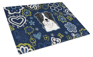Buy this Blue Flowers Border Collie Glass Cutting Board Large BB5092LCB