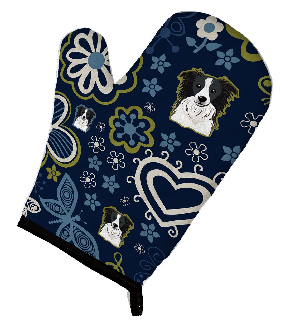 Blue Flowers Border Collie Oven Mitt BB5092OVMT by Caroline's Treasures