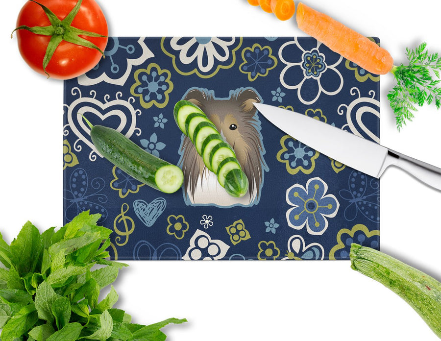 Buy this Blue Flowers Sheltie Glass Cutting Board Large BB5093LCB