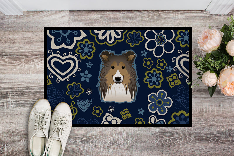 Buy this Blue Flowers Sheltie Indoor or Outdoor Mat 18x27 BB5093MAT