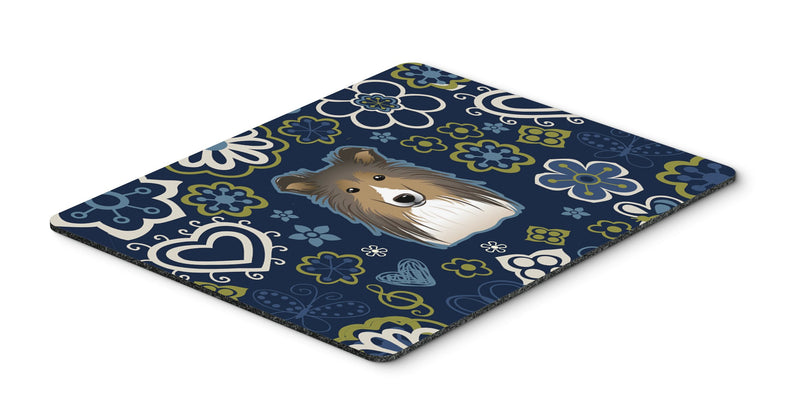 "Buy this ""Blue Flowers Sheltie Mouse Pad, Hot Pad or Trivet"""