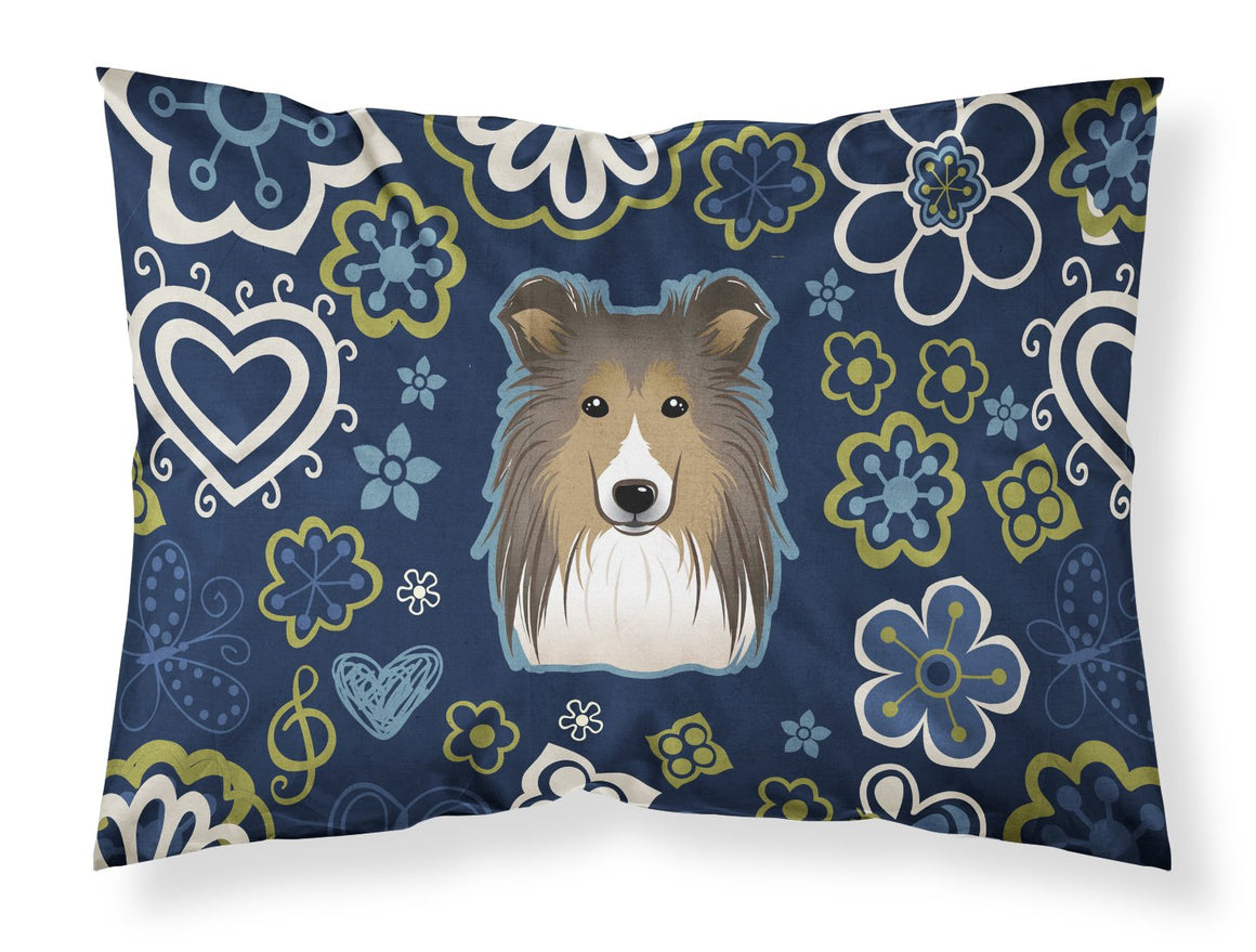 Buy this Blue Flowers Sheltie Fabric Standard Pillowcase BB5093PILLOWCASE