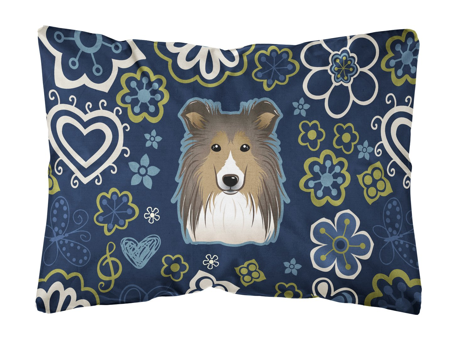 Buy this Blue Flowers Sheltie Canvas Fabric Decorative Pillow BB5093PW1216