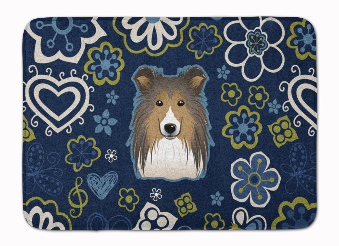 Buy this Blue Flowers Sheltie Machine Washable Memory Foam Mat BB5093RUG