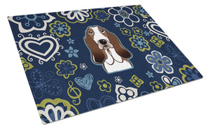 Buy this Blue Flowers Basset Hound Glass Cutting Board Large BB5094LCB