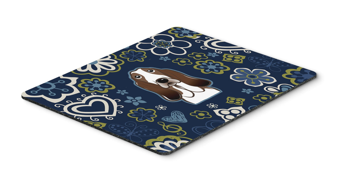 "Buy this ""Blue Flowers Basset Hound Mouse Pad, Hot Pad or Trivet"""