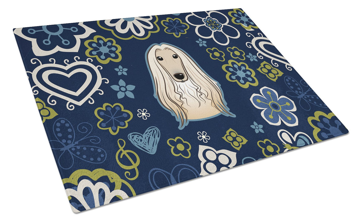 Buy this Blue Flowers Afghan Hound Glass Cutting Board Large BB5095LCB