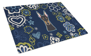 Buy this Blue Flowers Doberman Pinscher Glass Cutting Board Large BB5096LCB
