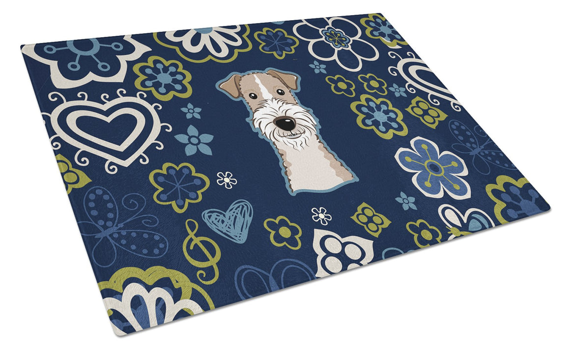 Buy this Blue Flowers Wire Haired Fox Terrier Glass Cutting Board Large BB5098LCB