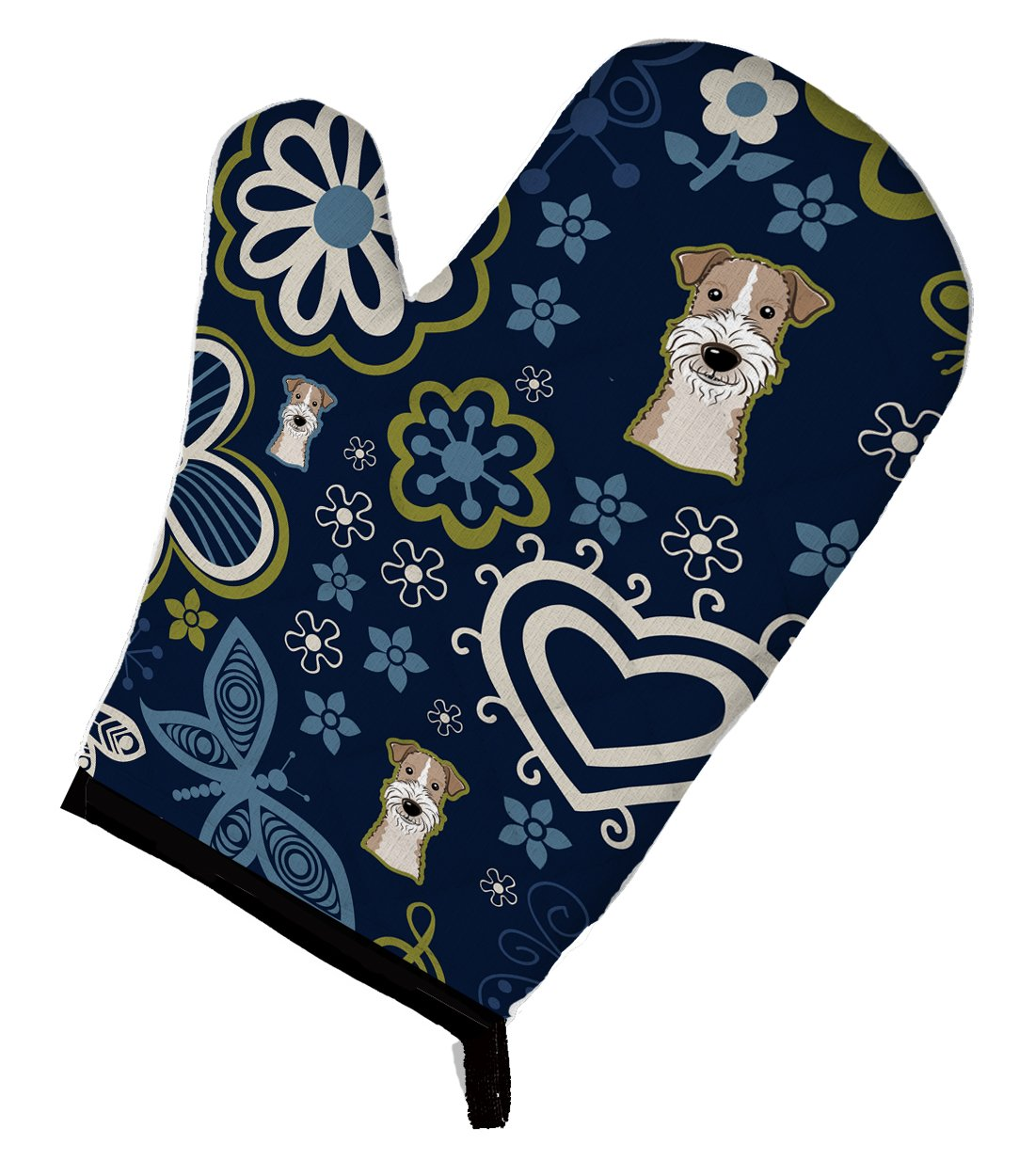 Buy this Blue Flowers Wire Haired Fox Terrier Oven Mitt BB5098OVMT