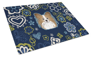 Buy this Blue Flowers Papillon Glass Cutting Board Large BB5099LCB