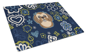 Buy this Blue Flowers Chocolate Brown Shih Tzu Glass Cutting Board Large BB5100LCB