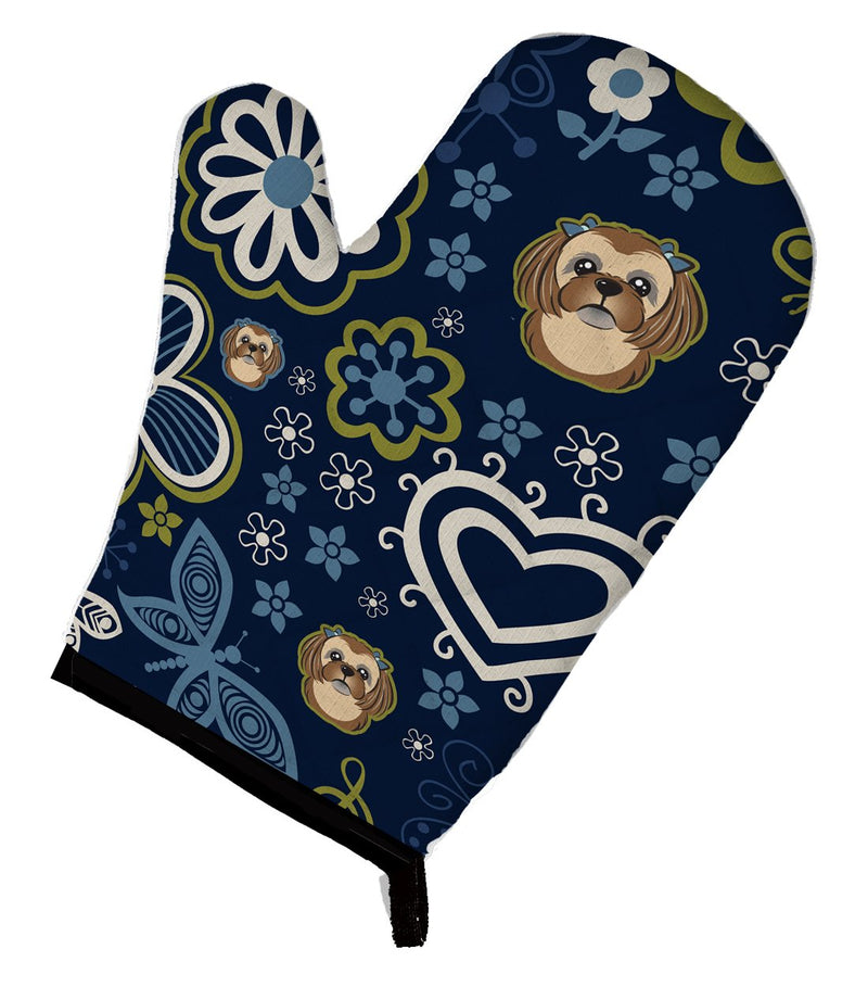 Buy this Blue Flowers Chocolate Brown Shih Tzu Oven Mitt BB5100OVMT