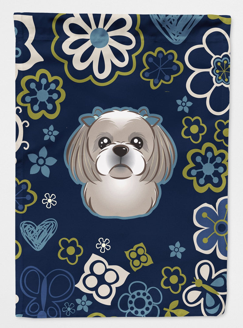 Buy this Blue Flowers Gray Silver Shih Tzu Flag Garden Size