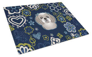 Buy this Blue Flowers Gray Silver Shih Tzu Glass Cutting Board Large BB5101LCB