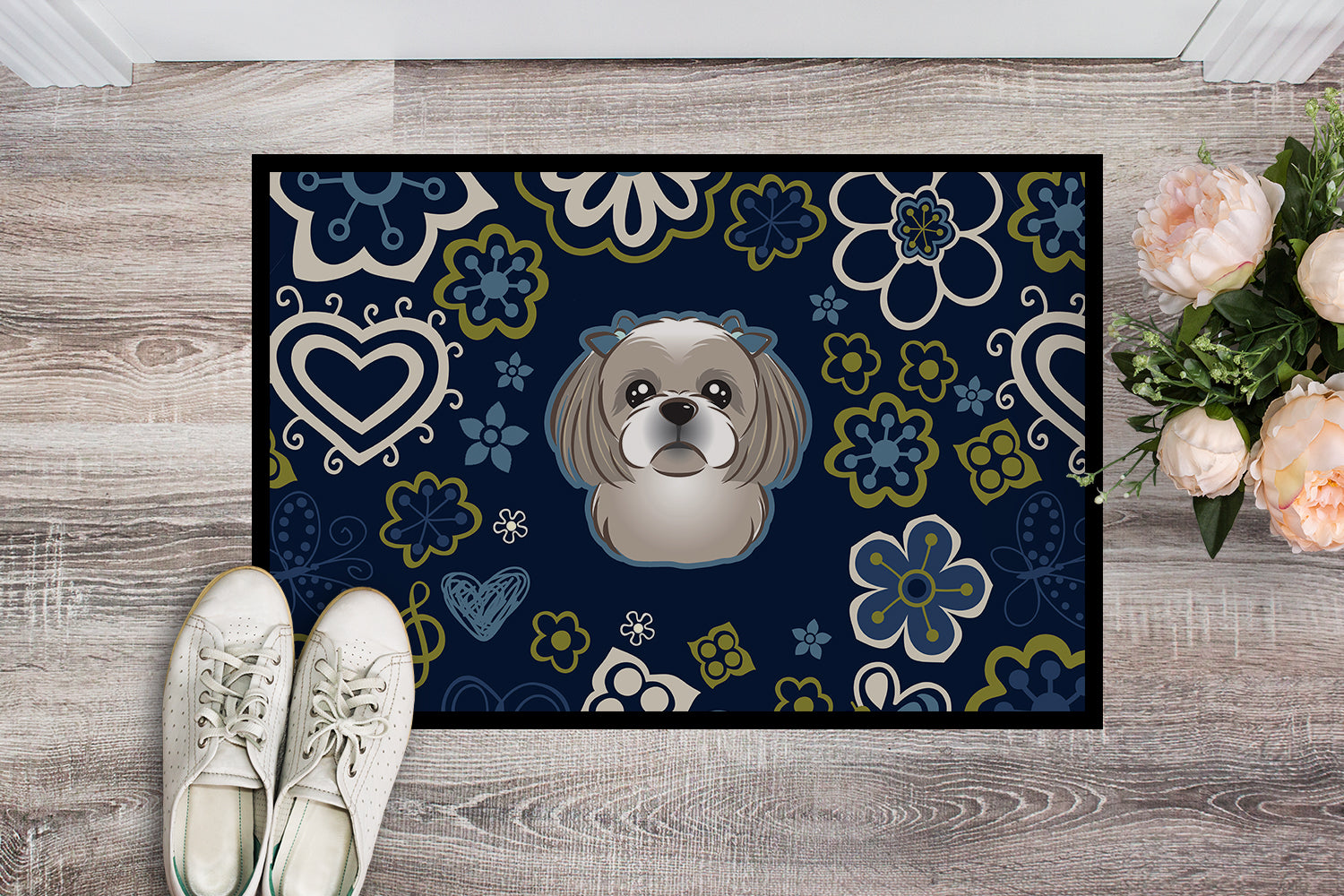 Blue Flowers Gray Silver Shih Tzu Indoor or Outdoor Mat 18x27 BB5101MAT by Caroline's Treasures