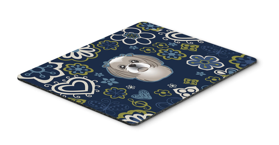 "Buy this ""Blue Flowers Gray Silver Shih Tzu Mouse Pad, Hot Pad or Trivet"""