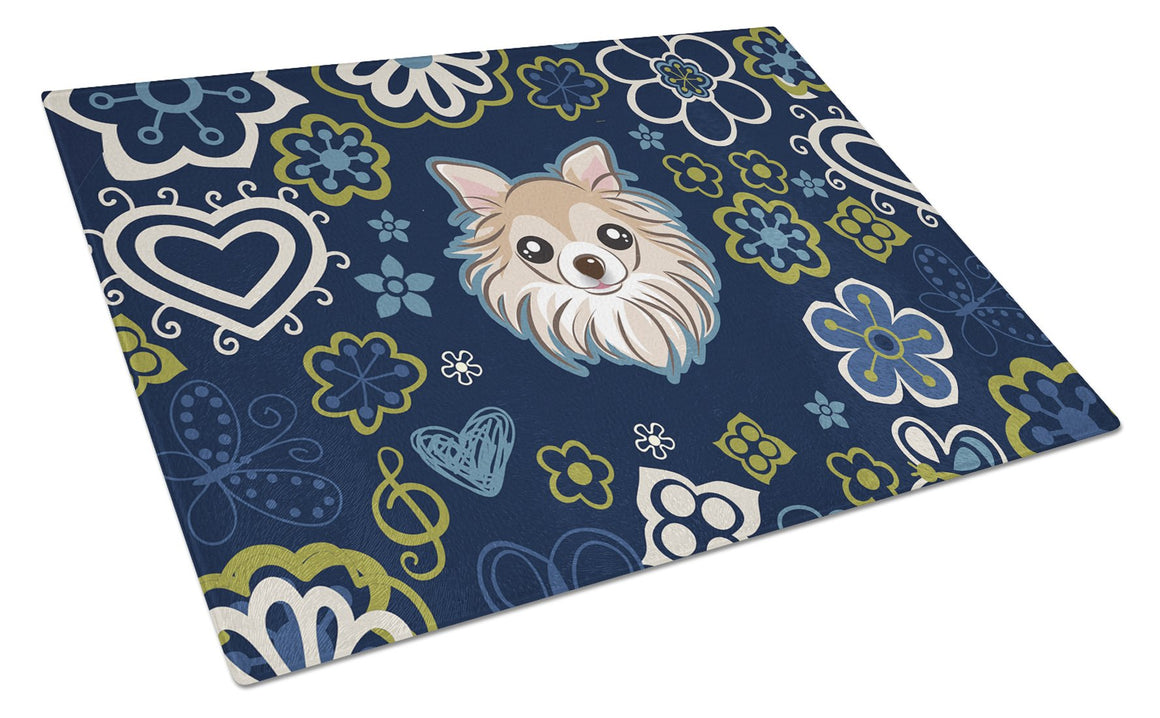 Buy this Blue Flowers Chihuahua Glass Cutting Board Large BB5102LCB