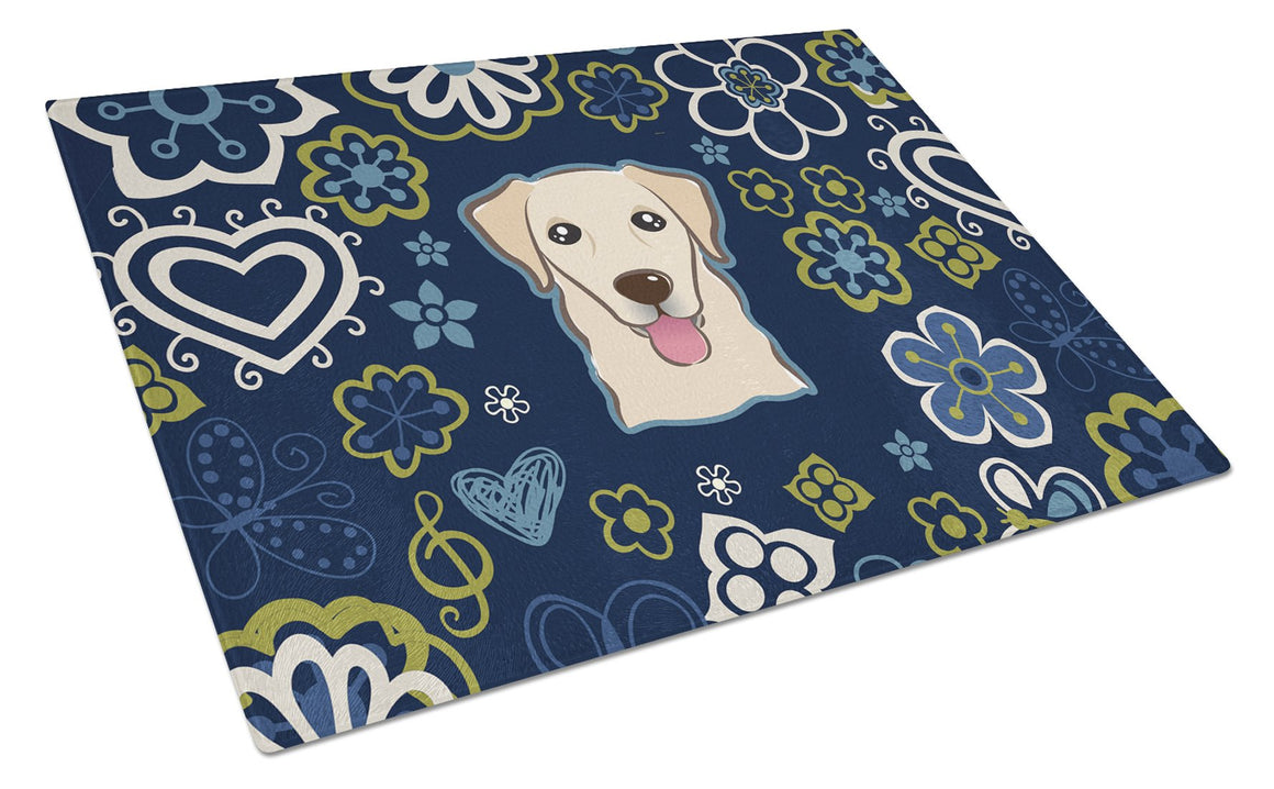 Buy this Blue Flowers Golden Retriever Glass Cutting Board Large BB5103LCB