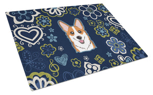 Buy this Blue Flowers Red Corgi Glass Cutting Board Large BB5105LCB