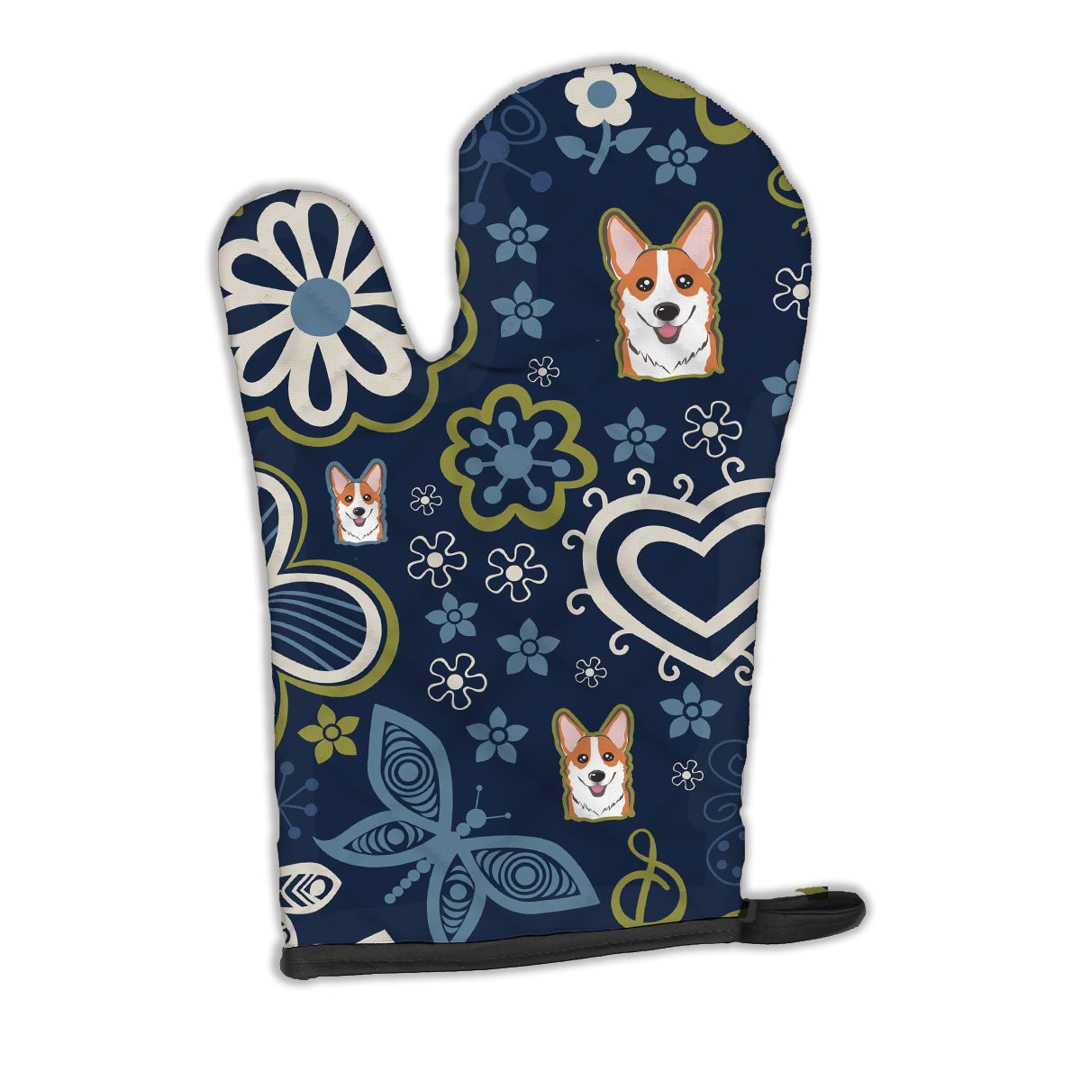 Buy this Blue Flowers Red Corgi Oven Mitt BB5105OVMT