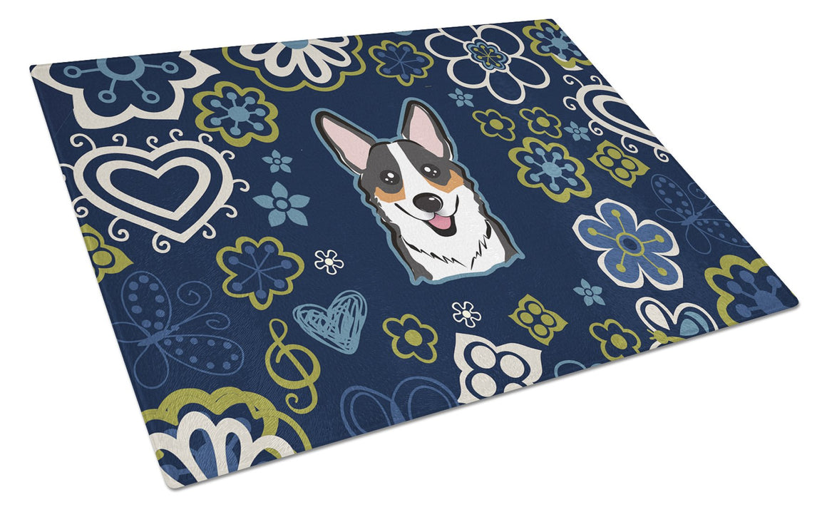 Buy this Blue Flowers Tricolor Corgi Glass Cutting Board Large BB5106LCB