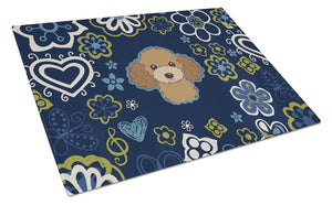 Buy this Blue Flowers Chocolate Brown Poodle Glass Cutting Board Large BB5107LCB